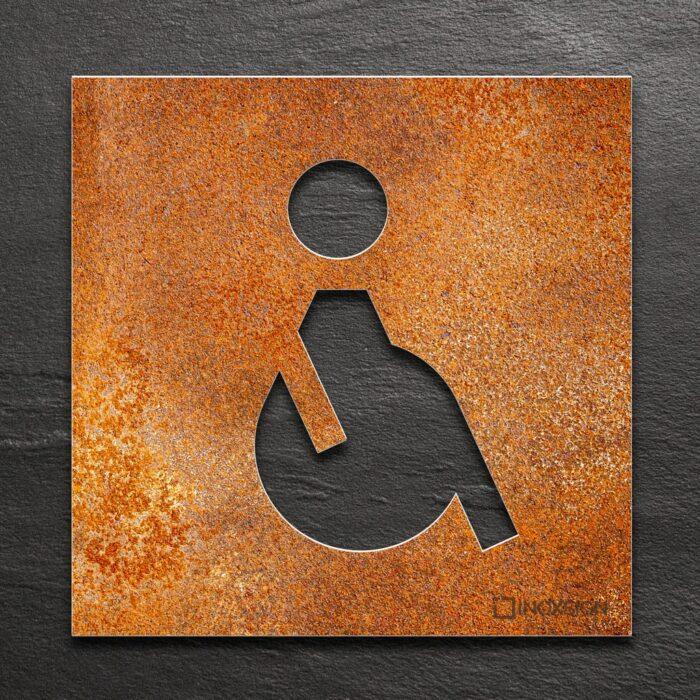 """Vintage WC-Schild """"Rollstuhlfahrer"""" / B.01.R 1"""
