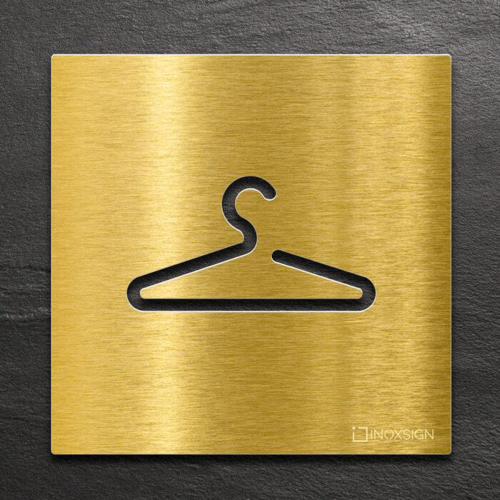 Messing Hinweis-Schild Garderobe - selbstklebendes Türschild - Kleiderbügel Piktogramm von INOXSIGN