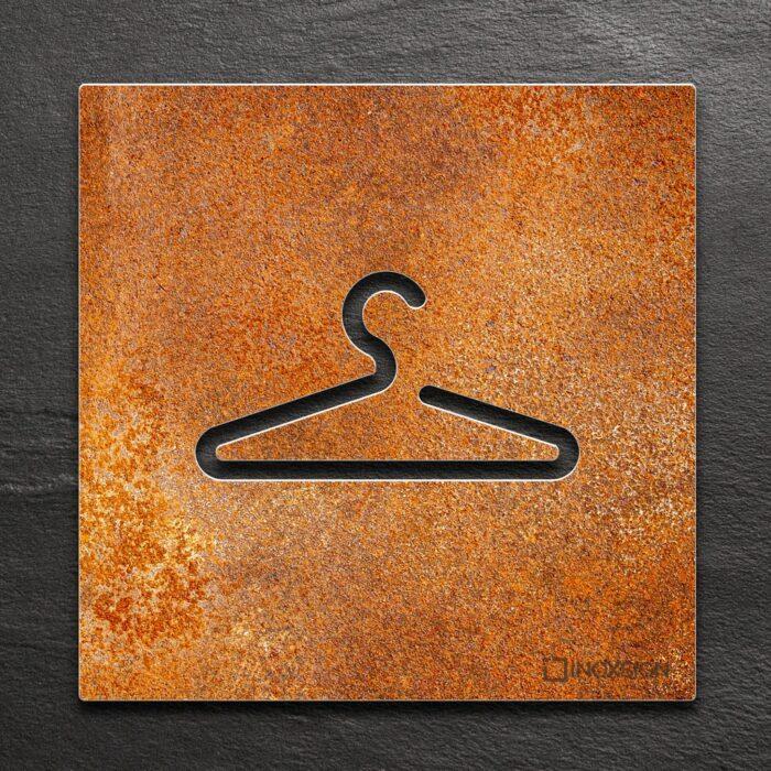 Vintage Hinweis-Schild Garderobe / Kleiderbügel - selbstklebendes Retro Türschild - Piktogramm von INOXSIGN