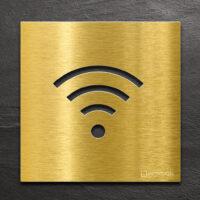 Messing Hinweis-Schild WIFI - selbstklebendes Türschild für WLAN - Piktogramm von INOXSIGN