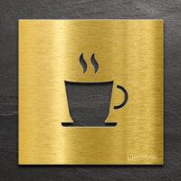 Messing Hinweis-Schild Kaffee - selbstklebendes Türschild für Cafe mit Tasse - Piktogramm von INOXSIGN