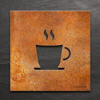 Vintage Hinweis-Schild CAFE / Kaffee - selbstklebendes Retro Türschild - Piktogramm von INOXSIGN
