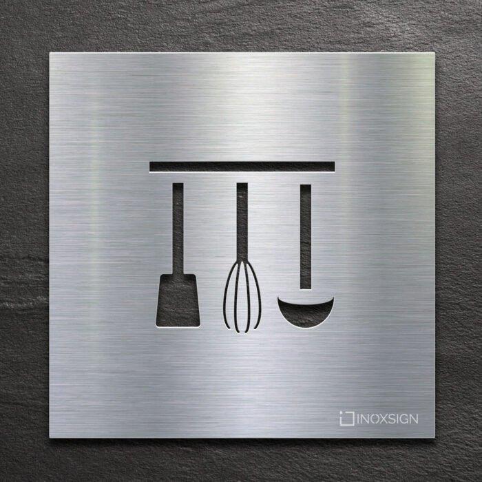 Edelstahl Hinweis-Schild Küche - selbstklebendes Türschild - Piktogramm von INOXSIGN