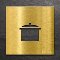 Messing Hinweis-Schild Küche - selbstklebendes Türschild - Piktogramm von INOXSIGN