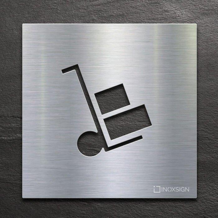 Edelstahl Hinweis-Schild Lager - selbstklebendes Türschild - Piktogramm von INOXSIGN
