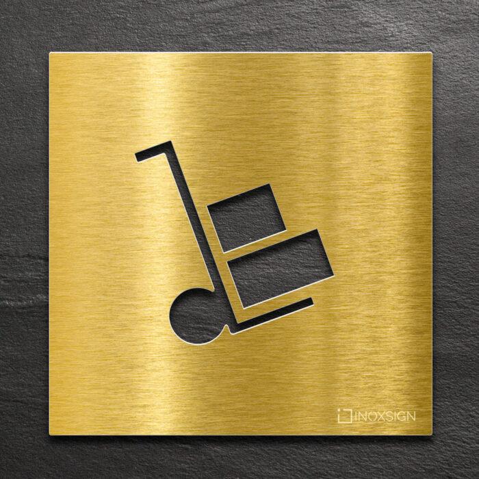 Messing Hinweis-Schild Lager - selbstklebendes Türschild - Piktogramm von INOXSIGN