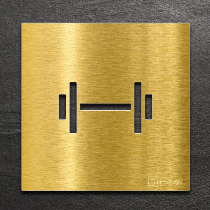 Messing Hinweis-Schild Fitness-Raum - selbstklebendes Türschild - Piktogramm von INOXSIGN