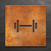 Vintage Hinweis-Schild Fitness-Raum - selbstklebendes Retro Türschild - Piktogramm von INOXSIGN