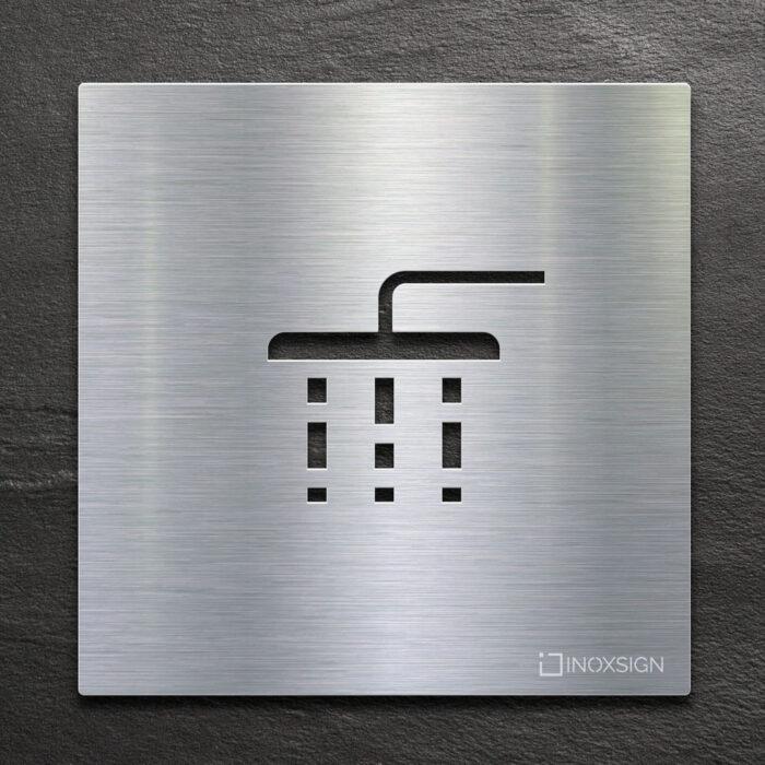 Edelstahl Hinweis-Schild Dusche - selbstklebendes Türschild - Piktogramm von INOXSIGN