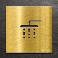 Messing Hinweis-Schild Dusche - selbstklebendes Türschild - Piktogramm von INOXSIGN