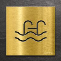 Messing Hinweis-Schild Schwimmbad - selbstklebendes Türschild für Pool - Piktogramm von INOXSIGN