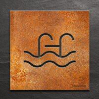 Vintage Hinweis-Schild Schwimmbad / Pool - selbstklebendes Retro Türschild - Piktogramm von INOXSIGN