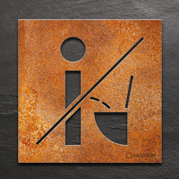Edelstahl WC-Schild Nicht im stehen pinkeln - selbstklebendes Toilettenschild bitte setzen - Piktogramm und Türschild von INOXSIGN