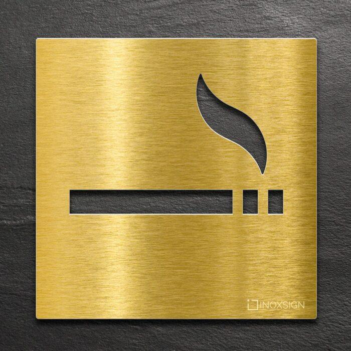 Messing Hinweis-Schild Rauchen erlaubt - selbstklebendes Türschild für raucherbereich- Piktogramm von INOXSIGN