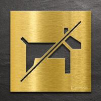 Messing Hinweis-Schild Hundeverbot - selbstklebendes Verbotsschild Hunde verboten - Piktogramm und Türschild von INOXSIGN