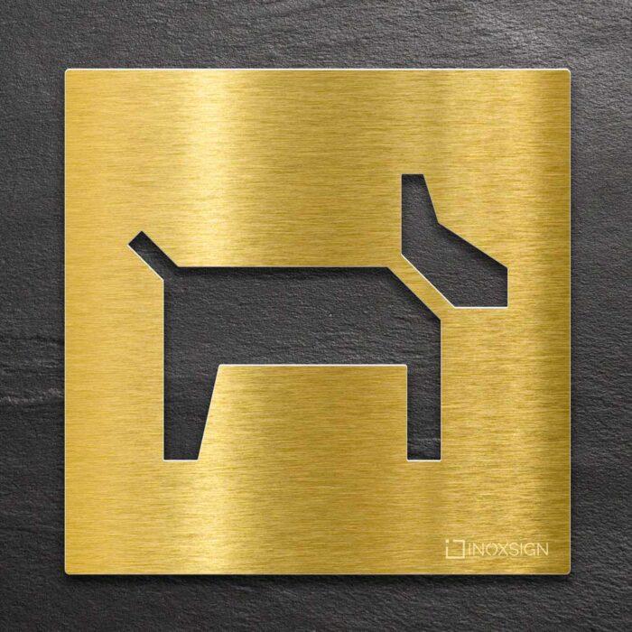 """Messing Hinweisschild """"Hunde erlaubt"""" / H.25.M 1"""