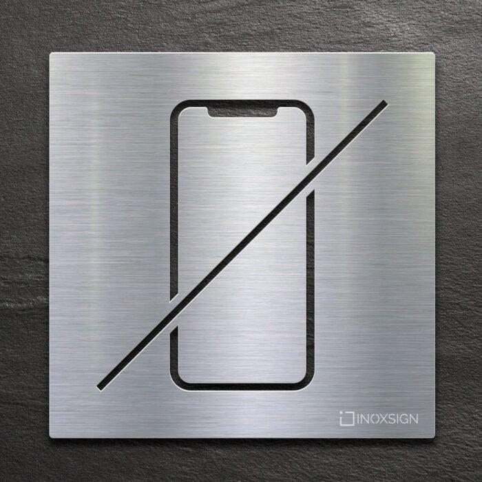 Edelstahl Hinweis-Schild Handy verboten - selbstklebendes Verbotsschild Handy-verbot - Piktogramm und Türschild von INOXSIGN
