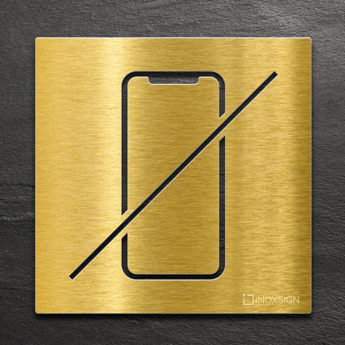 Messing Hinweis-Schild Handy verboten - selbstklebendes Verbotsschild Handy-verbot - Piktogramm und Türschild von INOXSIGN