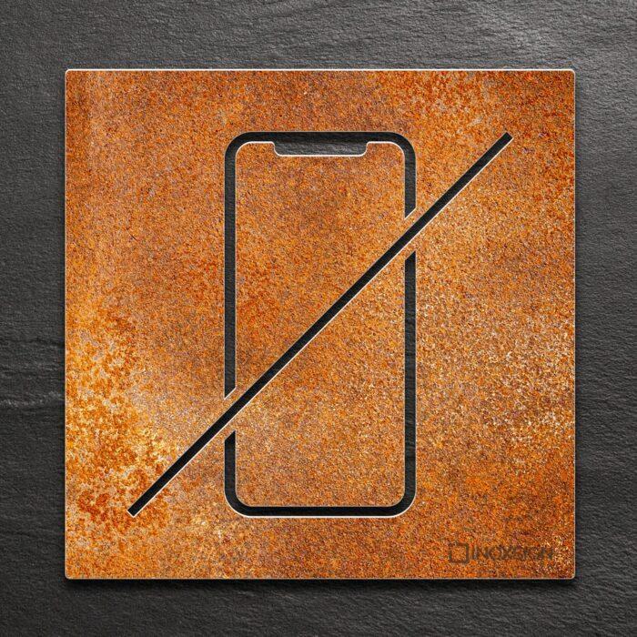 Vintage Hinweis-Schild Handyverbot - selbstklebendes Retro Verbotsschild Handy verboten - Piktogramm und Türschild von INOXSIGN