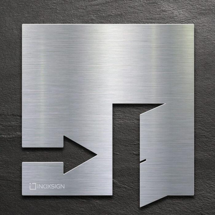 Edelstahl Hinweis-Schild EXIT - selbstklebendes Türschild für Ausgang rechts - Piktogramm von INOXSIGN