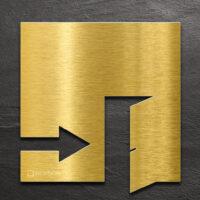 Messing Hinweis-Schild EXIT - selbstklebendes Türschild für Ausgang rechts - Piktogramm von INOXSIGN