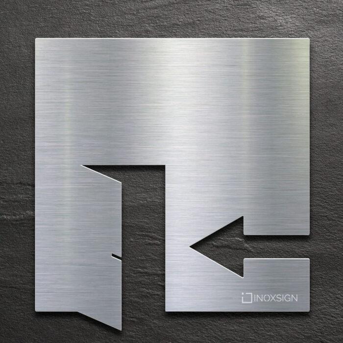 Edelstahl Hinweis-Schild EXIT - selbstklebendes Türschild für Ausgang links - Piktogramm von INOXSIGN