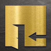 Messing Hinweis-Schild EXIT - selbstklebendes Türschild für Ausgang links - Piktogramm von INOXSIGN
