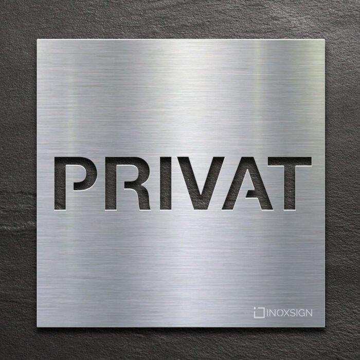 Edelstahl Hinweis-Schild Privat - selbstklebendes Türschild - Piktogramm von INOXSIGN