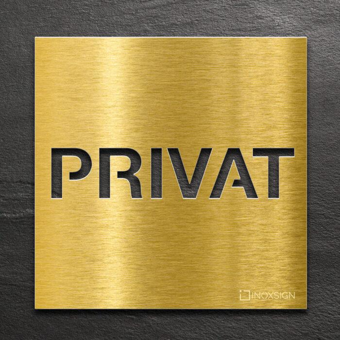 Messing Hinweis-Schild Privat - selbstklebendes Türschild - Piktogramm von INOXSIGN
