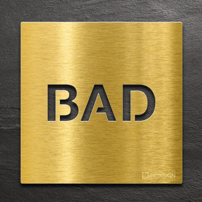 Messing Hinweis-Schild BAD - selbstklebendes Türschild für Badezimmer - Piktogramm von INOXSIGN