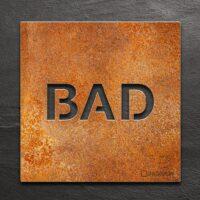 Vintage Hinweis-Schild BAD - selbstklebendes Retro Türschild für Badezimmer - Piktogramm von INOXSIGN
