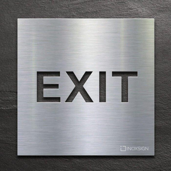 Edelstahl Hinweis-Schild EXIT - selbstklebendes Türschild für Ausgang - Piktogramm von INOXSIGN