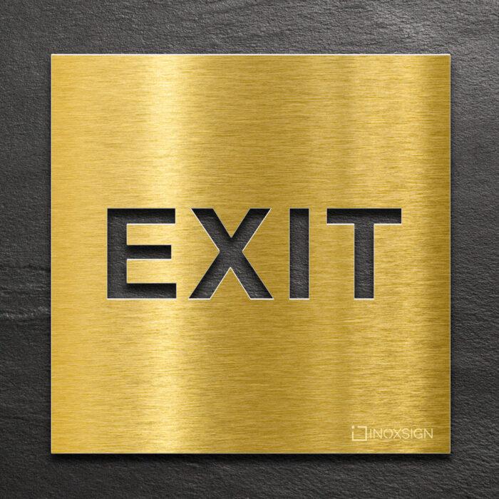 Messing Hinweis-Schild EXIT - selbstklebendes Türschild für Ausgang - Piktogramm von INOXSIGN