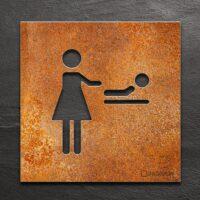 Vintage Hinweis-Schild für Wickelraum - selbstklebendes Retro Türschild - Piktogramm Wickeltisch von INOXSIGN