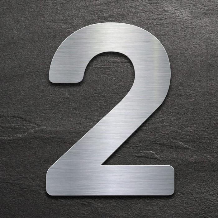 Edelstahl Hausnummer 2 von INOXSIGN - Design Hausnummernschild modern - wetterfest und rostfrei