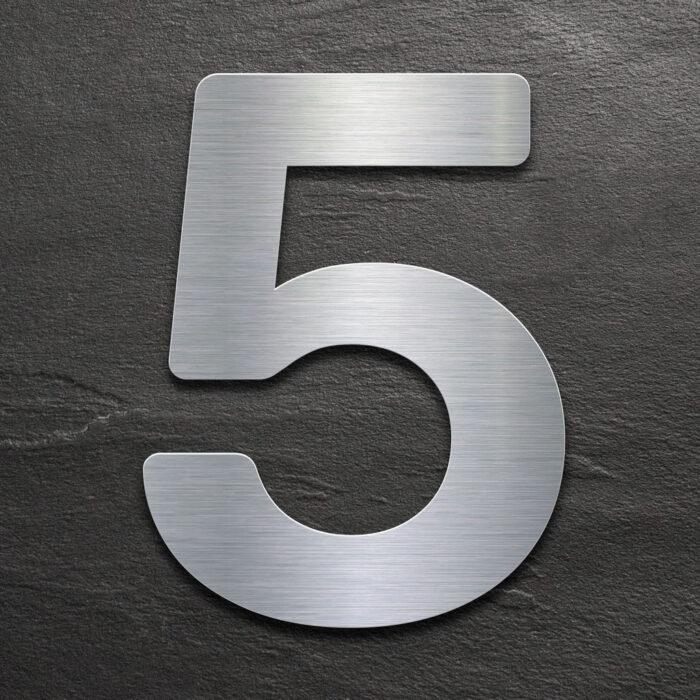 Edelstahl Hausnummer 5 von INOXSIGN - Design Hausnummernschild modern - wetterfest und rostfrei