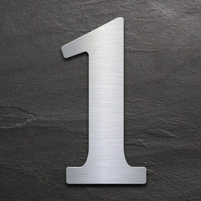 Edelstahl Hausnummer 1 von INOXSIGN - Design Hausnummernschild modern - wetterfest und rostfrei