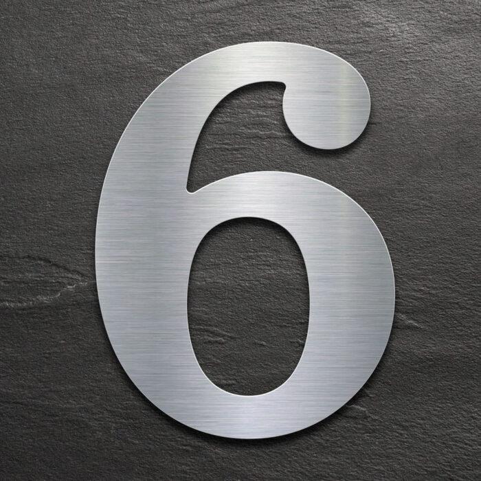 Edelstahl Hausnummer 6 von INOXSIGN - Design Hausnummernschild modern - wetterfest und rostfrei