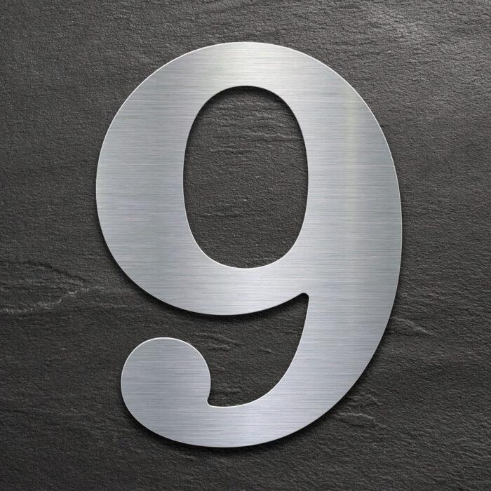 Edelstahl Hausnummer 9 von INOXSIGN - Design Hausnummernschild modern - wetterfest und rostfrei