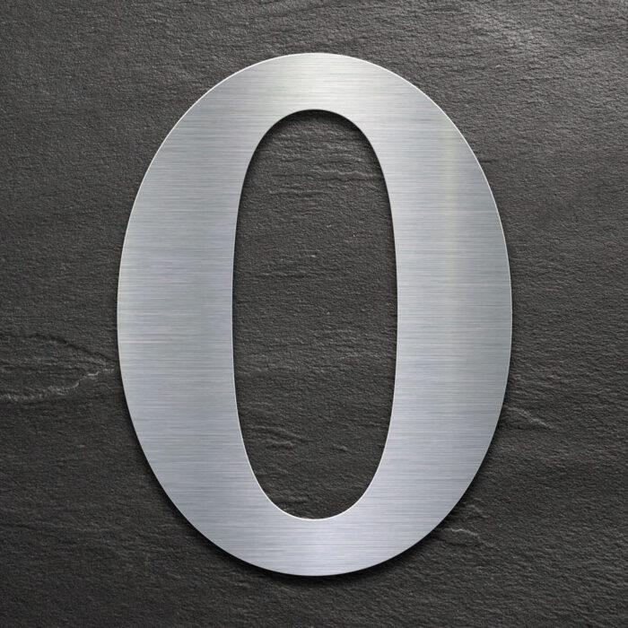 Edelstahl Hausnummer 0 von INOXSIGN - Design Hausnummernschild modern - wetterfest und rostfrei