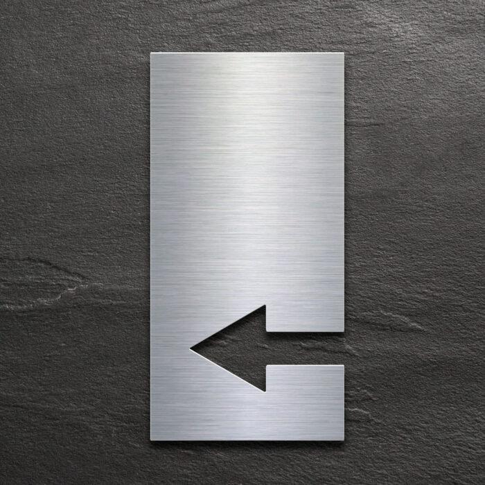 Edelstahl Pfeil Schild links - selbstklebendes Hinweis-Schild - Piktogramm von INOXSIGN