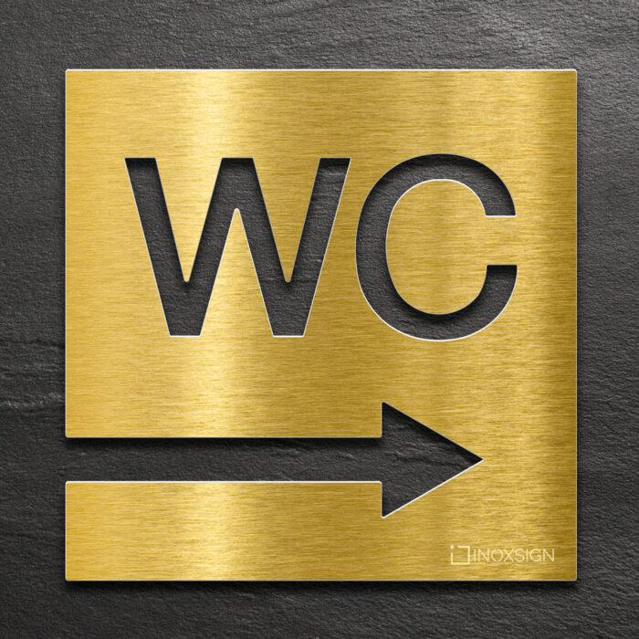 """Messing WC-Schild """"rechts"""" / W.02.M 1"""