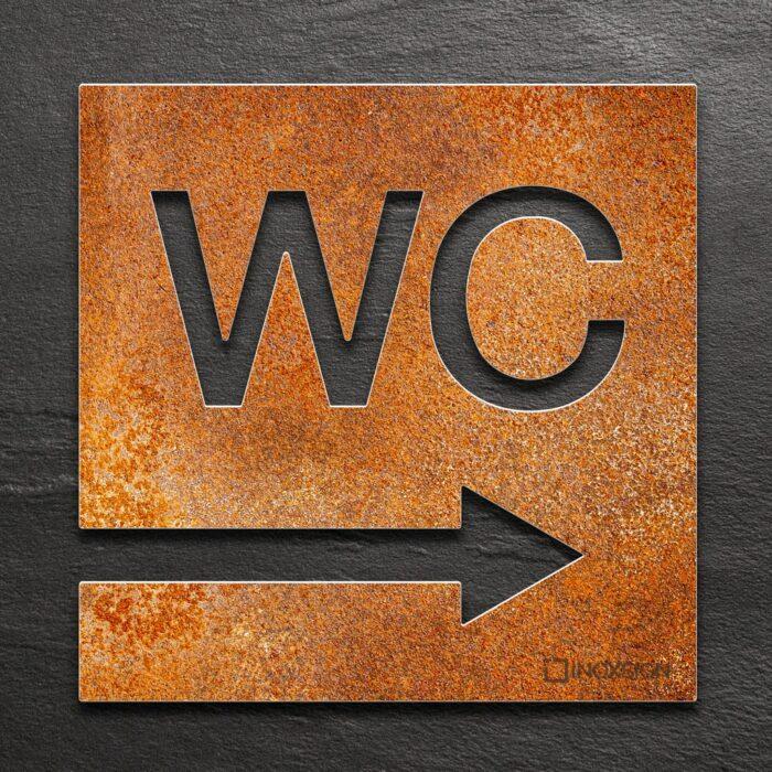 Vintage WC-Schild Richtung rechts - selbstklebendes Retro Toiletten-Schild - Piktogramm für Toilette - INOXSIGN