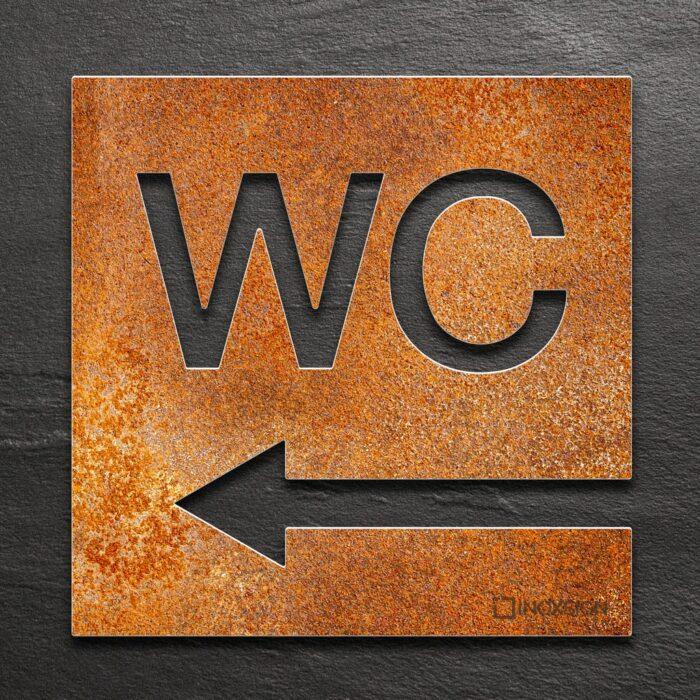 Vintage WC-Schild Richtung links - selbstklebendes Retro Toiletten-Schild - Piktogramm für Toilette - INOXSIGN