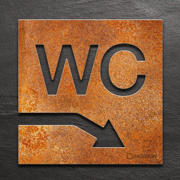 Vintage WC-Schild rechts runter - selbstklebendes Retro Toiletten-Schild für WC im Keller - Piktogramm für Toilette - INOXSIGN