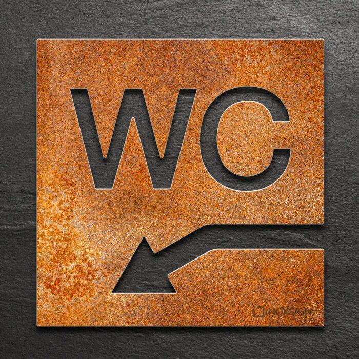 Vintage WC-Schild links runter - selbstklebendes Retro Toiletten-Schild für WC im Keller - Piktogramm für Toilette - INOXSIGN