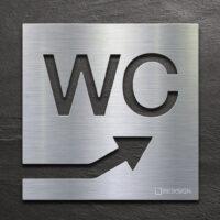 Edelstahl WC-Schild mit Pfeil nach rechts oben - selbstklebendes Toiletten-Schild - Piktogramm für Toilette - INOXSIGN