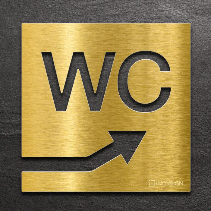 """Messing WC-Schild """"rechts oben"""" / W.06.M 1"""