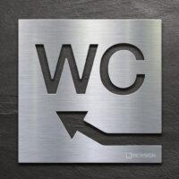 Edelstahl WC-Schild mit Pfeil nach links oben - selbstklebendes Toiletten-Schild - Piktogramm für Toilette - INOXSIGN