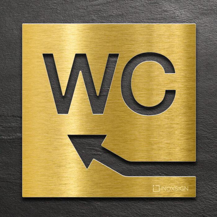 """Messing WC-Schild """"links oben"""" / W.07.M 1"""